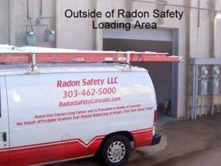 Radon Safety LLC van and loading area